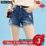 Hole Jeans Trendy Casual  High Waist Pants Fashion Short Denim