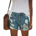 Sexy Mini Holes Jeans Blue High Waist Ripped Short Denim