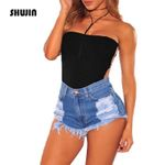 Casual Fashion High Waist Hole Ripped Tassel Short Denim