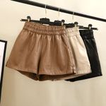 Leather High Quality Wide Leg Faux  Shorts