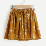 Floral Print Mid Waist Elastic Loose Ringer Vintage Elegant  Shorts