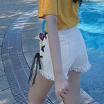Fashion Bandage Lace Up Button Buckle Wide-leg Trousers  Shorts