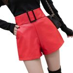 Faux Leather High Waist Wide Leg Sexy Belted  Shorts