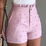 Cute Soild Color Shorts High Waist Zipper Bead Decoration  Shorts