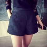 New Fashion Casual Dark Plaid High-Waisted Shorts