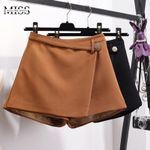 High Waist Casual Irregular Wide Leg Slim Cotton  Shorts