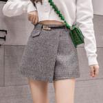 Irregular Woolen Plaid Skirts Office Plus Size Booty Shorts