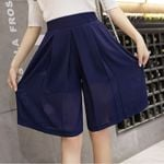 Chiffon pants loose wide-legged trousers knee-length elastic  Shorts