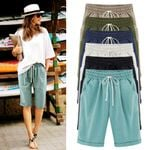 Oversized Cotton linen Casual Drawstring Elastic Loose Trousers  Shorts