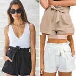 Sexy High Waist Casual Solid Bow Beach Trousers  Shorts