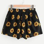 Sexy Sunflower Print High Waist Pants Casual  Shorts