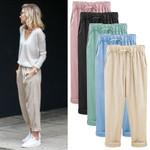 Plus Size Linen Cotton Casual Harem Candy Color Ankle-length Pants