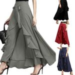 Irregular Ruffled High Waist Lace Up Trousers Casual Loose Pants