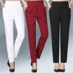 Stretch Waist Cotton Feet  Large size Solid Casual Pants