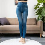 Fashion Slim Faux Denim Jeans Sexy Long Pocket Printing Leggings