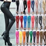 Elastic PU Leather Velvet High Waist Thick Warm Slim Pencil Leggings