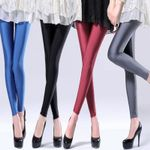 Solid Color Pant Large Shinny Elasticity Casual Trousers Leggings