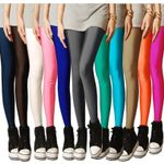 New Solid Candy Neon High Stretched Pants Plug Size Leggings