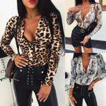 Leopard Sexy Bodycon Skinny Slim Fit V-Neck Long Sleeve Bodysuits