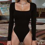 Sexy Bodycon Long Sleeve Square Neck Sheath Open CrotchBodysuits