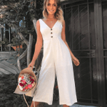 Long Cotton Clothing Casual Loose Style Maxi v neck Jumpsuits
