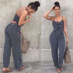 Elegant Striped Sexy Spaghetti Strap Rompers Sleeveless Jumpsuits
