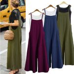 Fashion Tank Strappy Loose Baggy Dungarees Overalls Jumpsuit