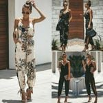 Casual Sleeveless Loose Baggy Trousers Overalls Pants Solid Jumpsuits