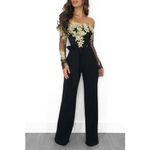 Appliques Lace Patchwork Sexy Off Shoulder Slash Neck Jumpsuits