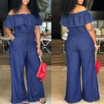 Word collar Bodycon Party casual jeans pants overall Jumpsuits