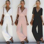 V Neck Loose Playsuit Party Ladies Bodysuits Short Sleeve Jumpsuits
