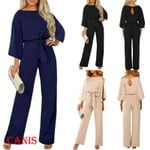 New Fashion High Waist Long Sleeve Cotton Casual Jumpsuits