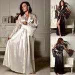 Lace Nightgown Satin Silk Lace Robes Long Sleeve V-neck Sleepwear