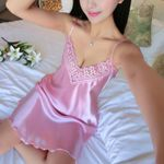 Sexy Nightdress Deep V Lace Lingerie Silk Satin Sleepwear