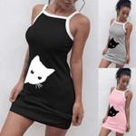 Night Dress Nightgowns Elastic Slim Cute Cat Print Sleepwear