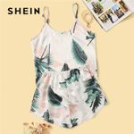 Tropical Print Satin Pajama Set Casual Sleeveless Sleepwear