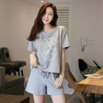 Set 2pcs Loose Sports Short Sleeve Homewear Sleepwear