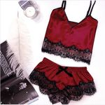 Sleeping clothes Set Sexy Satin Femme Fashion Sleeveless Sleepwear