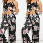 Faux Silk Satin Pajamas Set Vintage Flower Print Sleeveless Sleepwear