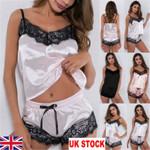 Satin Lingerie Underwear Babydoll NightwearStrap Solid Sleepwear