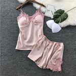 Sexy Lingerie Silk Satin Chest Pad Embroidery Sleepwear