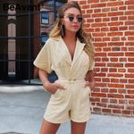 Solid Beige Short High Waist Casual Playsuit Cotton Rompers