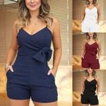 Fashion V-Neck Spaghetti Strap Shorts Casual Sleeveless Rompers