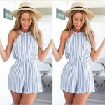 Sleeveless Style Beach Jumpsuit Sexy Vertical Stripe Rompers