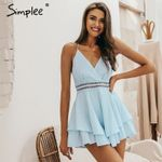 Sexy v-neck playsuit Hollow out waist spaghetti strap Rompers