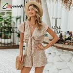 Bow sleeveless wide leg short casual loose tie leopard Rompers