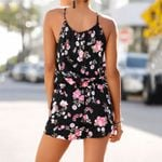 Elegant Holiday Mini Playsuit Printed Shorts Sleeveless Rompers