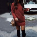 Knitted Casual O-Neck Warm Elegantn Long Sleeve Sexy Dresses