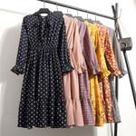 Shirt Vestidos Office Polka Dot Vintage Sleeve Dresses