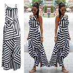 New Fashion Sexy Striped Sleeveless Vestidos Bigsweety Dresses